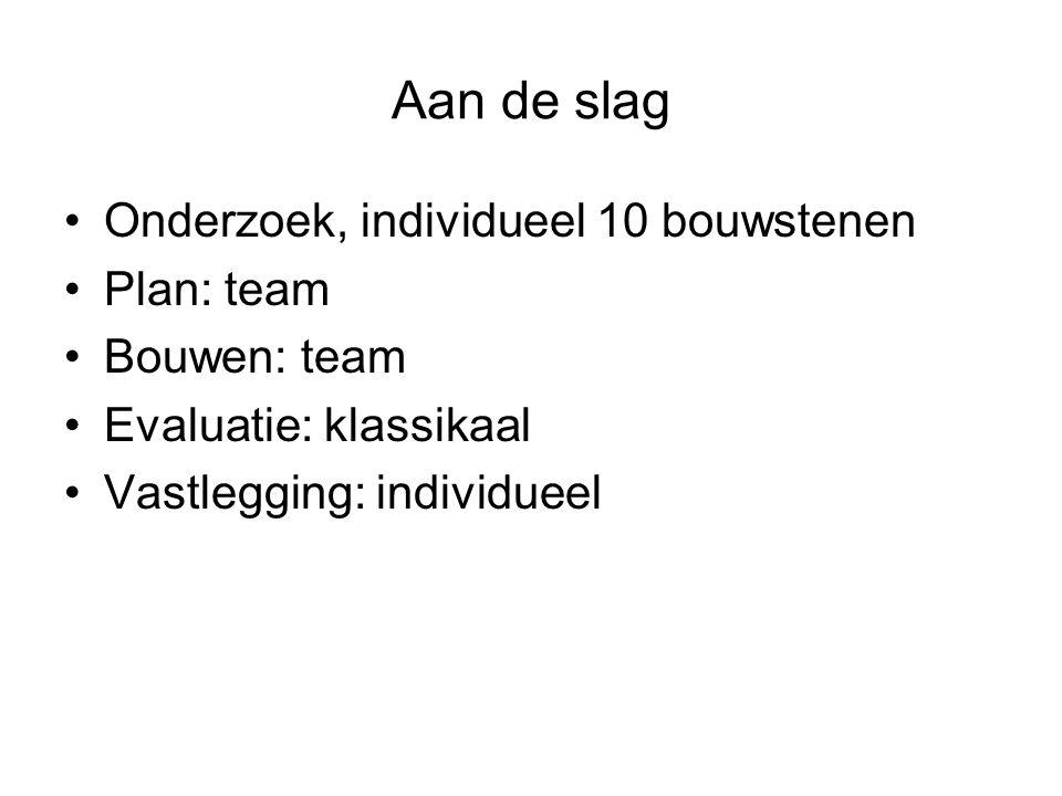 Aan de slag Onderzoek, individueel 10 bouwstenen Plan: team Bouwen: team Evaluatie: klassikaal Vastlegging: individueel