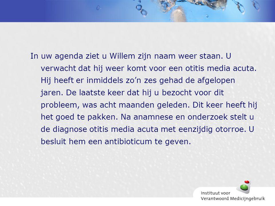 In uw agenda ziet u Willem zijn naam weer staan. U verwacht dat hij weer komt voor een otitis media acuta. Hij heeft er inmiddels zo'n zes gehad de af