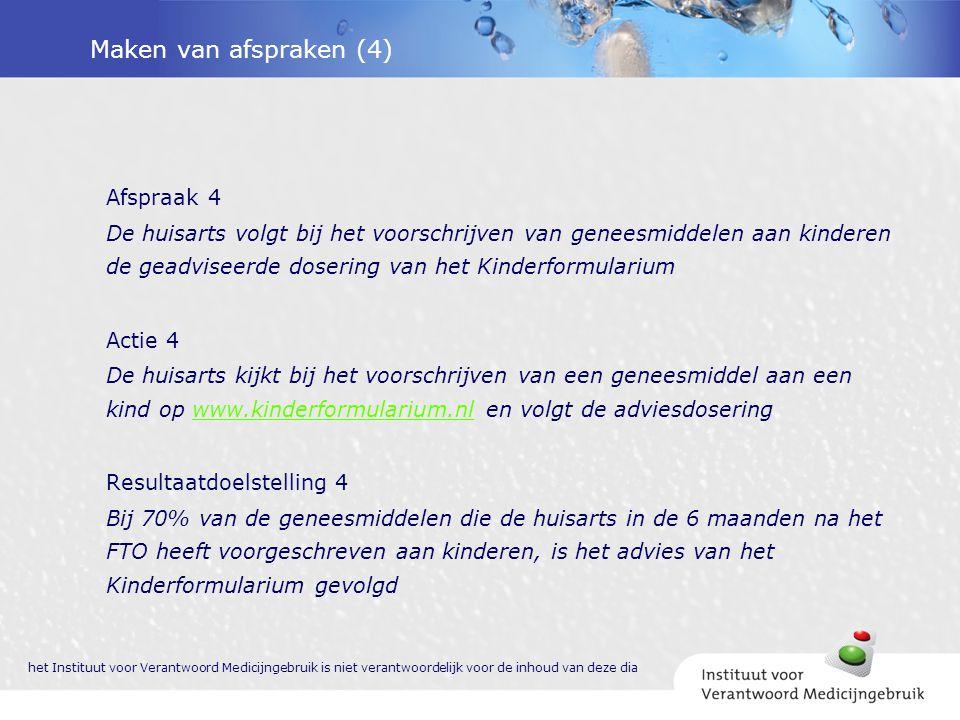 Maken van afspraken (4) Afspraak 4 De huisarts volgt bij het voorschrijven van geneesmiddelen aan kinderen de geadviseerde dosering van het Kinderform