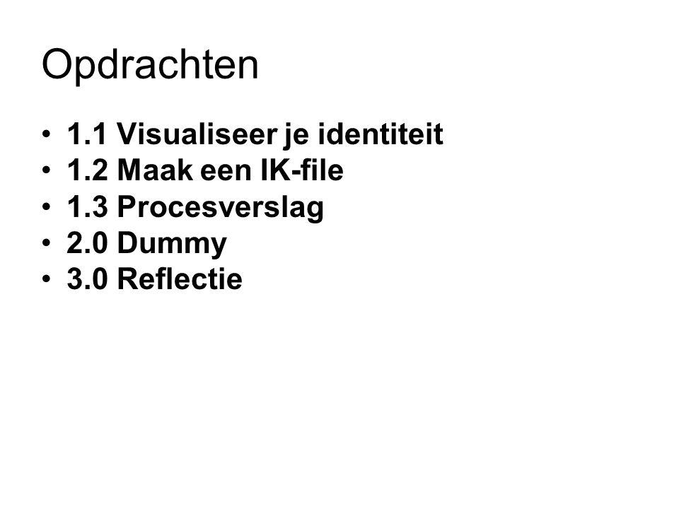 Opdrachten 1.1 Visualiseer je identiteit 1.2 Maak een IK-file 1.3 Procesverslag 2.0 Dummy 3.0 Reflectie