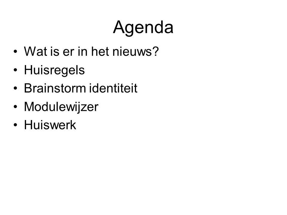 Wat is er in het nieuws? Huisregels Brainstorm identiteit Modulewijzer Huiswerk Agenda