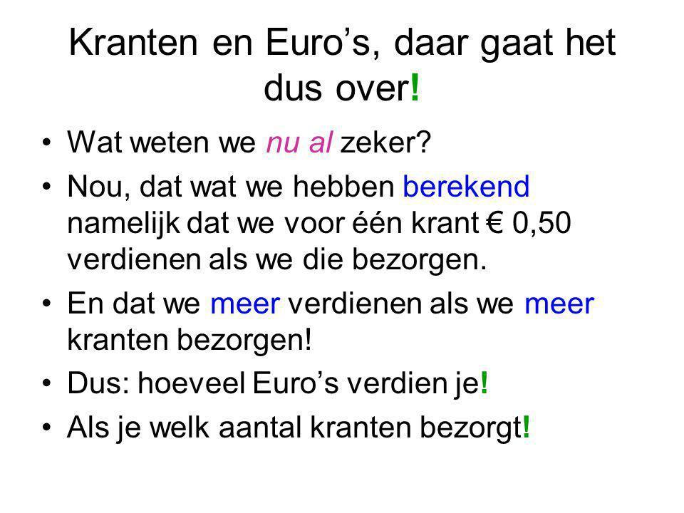 Kranten en Euro's, daar gaat het dus over! Wat weten we nu al zeker? Nou, dat wat we hebben berekend namelijk dat we voor één krant € 0,50 verdienen a