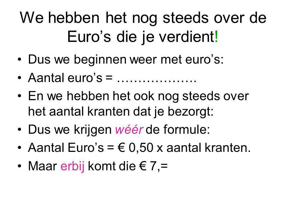 We hebben het nog steeds over de Euro's die je verdient! Dus we beginnen weer met euro's: Aantal euro's = ………………. En we hebben het ook nog steeds over
