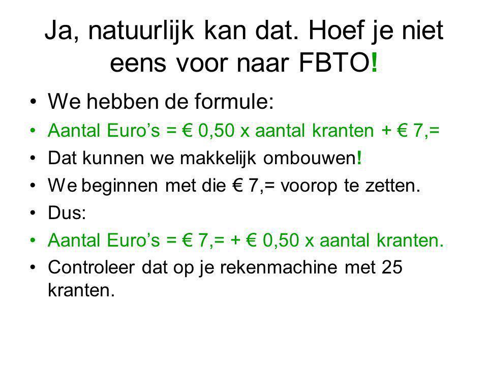 Ja, natuurlijk kan dat. Hoef je niet eens voor naar FBTO! We hebben de formule: Aantal Euro's = € 0,50 x aantal kranten + € 7,= Dat kunnen we makkelij