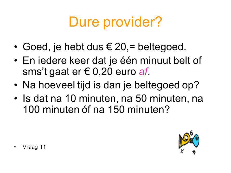 Dure provider? Goed, je hebt dus € 20,= beltegoed. En iedere keer dat je één minuut belt of sms't gaat er € 0,20 euro af. Na hoeveel tijd is dan je be