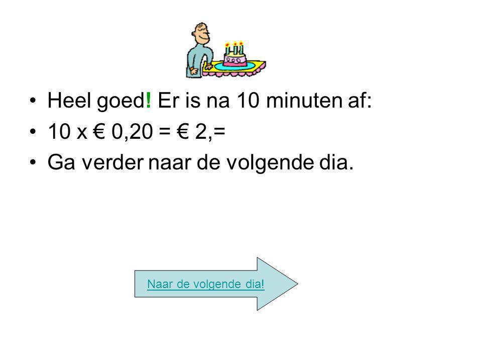 Heel goed! Er is na 10 minuten af: 10 x € 0,20 = € 2,= Ga verder naar de volgende dia. Naar de volgende dia!