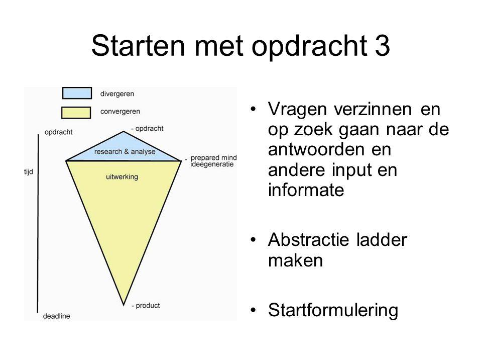 Starten met opdracht 3 Vragen verzinnen en op zoek gaan naar de antwoorden en andere input en informate Abstractie ladder maken Startformulering