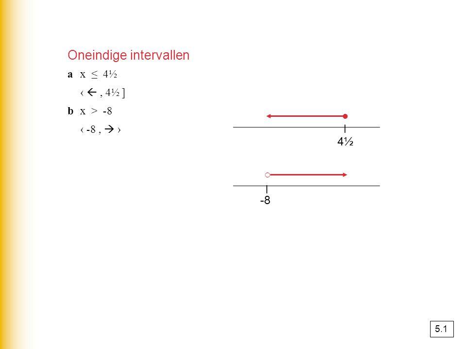 4½4½ l ○ ● ax ≤ 4½ ‹ , 4½ ] bx > -8 ‹ -8,  › -8 l Oneindige intervallen 5.1