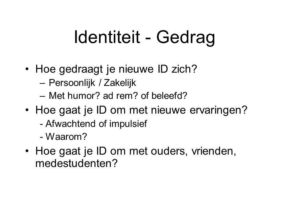 Identiteit - Gedrag Hoe gedraagt je nieuwe ID zich? –Persoonlijk / Zakelijk –Met humor? ad rem? of beleefd? Hoe gaat je ID om met nieuwe ervaringen? -