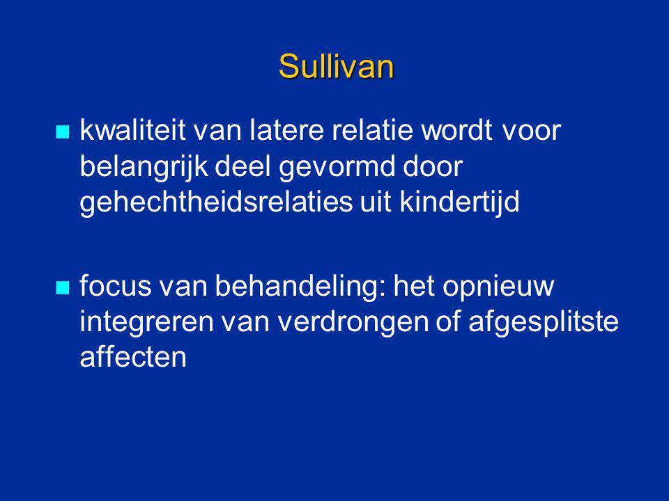 Sullivan kwaliteit van latere relatie wordt voor belangrijk deel gevormd door gehechtheidsrelaties uit kindertijd focus van behandeling: het opnieuw i
