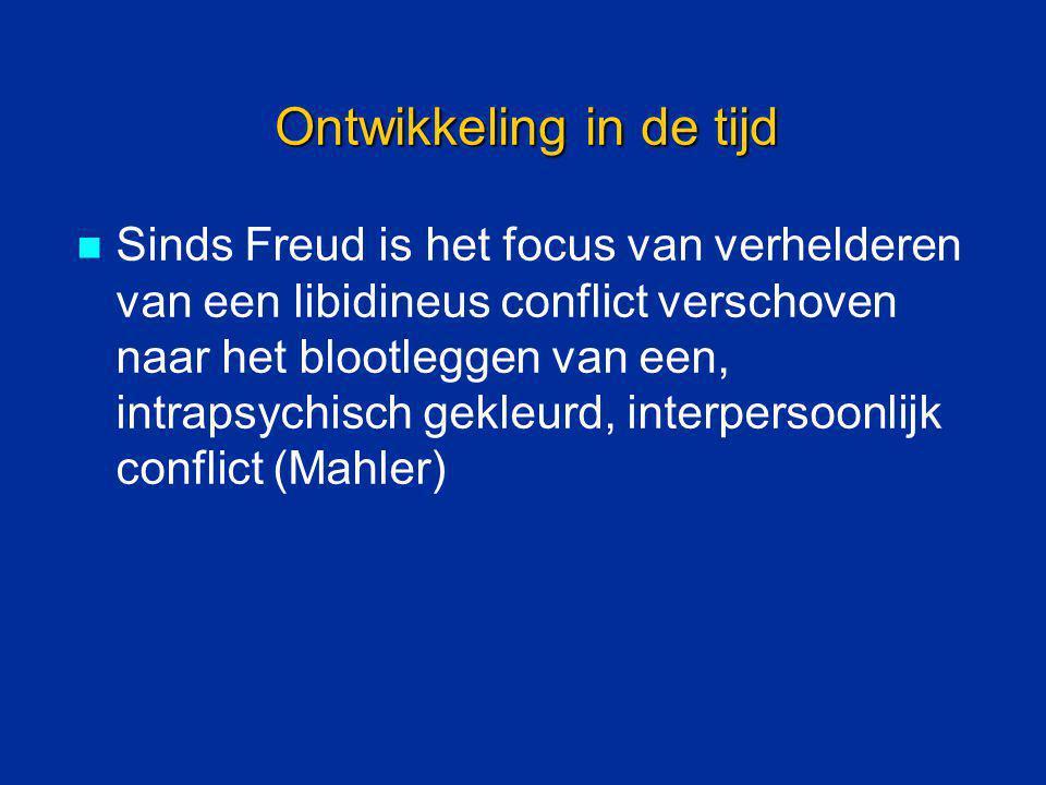 Ontwikkeling in de tijd Sinds Freud is het focus van verhelderen van een libidineus conflict verschoven naar het blootleggen van een, intrapsychisch g