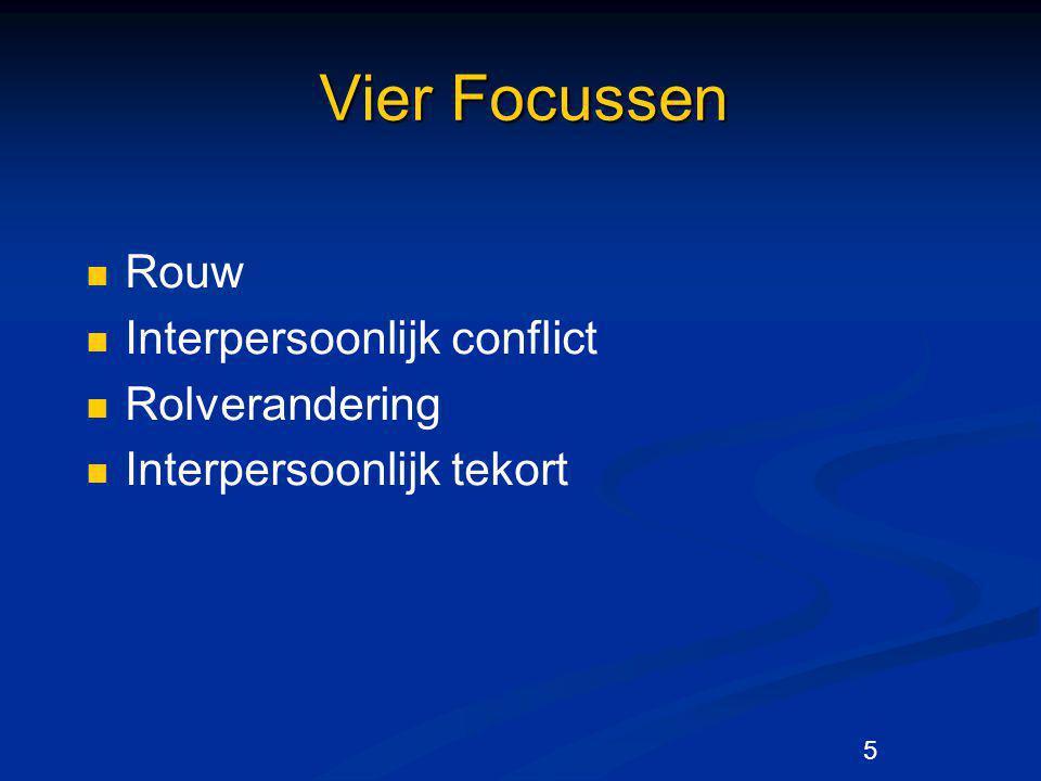 5 Vier Focussen Rouw Interpersoonlijk conflict Rolverandering Interpersoonlijk tekort