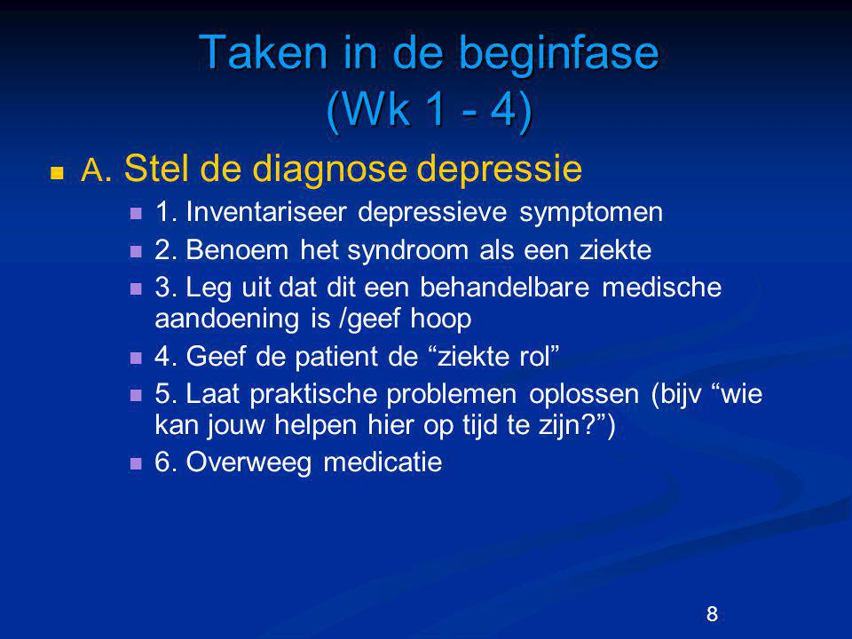8 Taken in de beginfase (Wk 1 - 4) A.Stel de diagnose depressie 1.