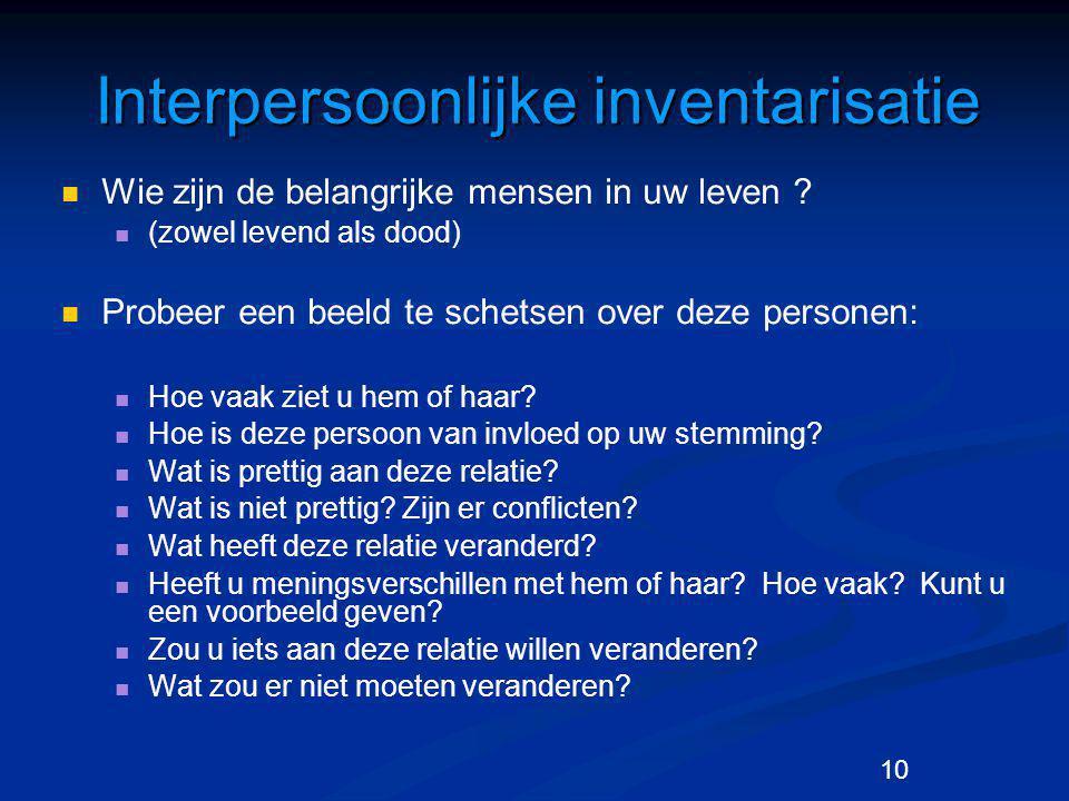 10 Interpersoonlijke inventarisatie Wie zijn de belangrijke mensen in uw leven ? (zowel levend als dood) Probeer een beeld te schetsen over deze perso
