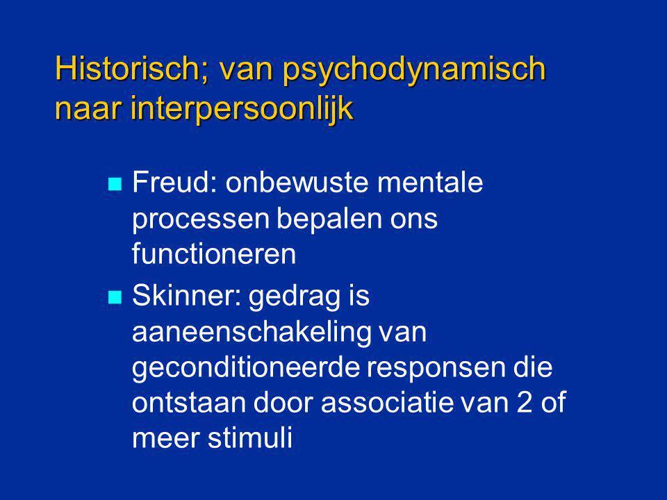 Historisch; van psychodynamisch naar interpersoonlijk Freud: onbewuste mentale processen bepalen ons functioneren Skinner: gedrag is aaneenschakeling
