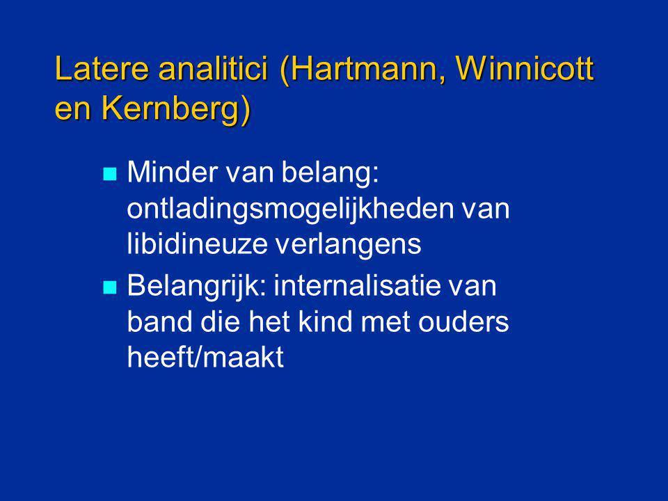 Latere analitici (Hartmann, Winnicott en Kernberg) Minder van belang: ontladingsmogelijkheden van libidineuze verlangens Belangrijk: internalisatie va