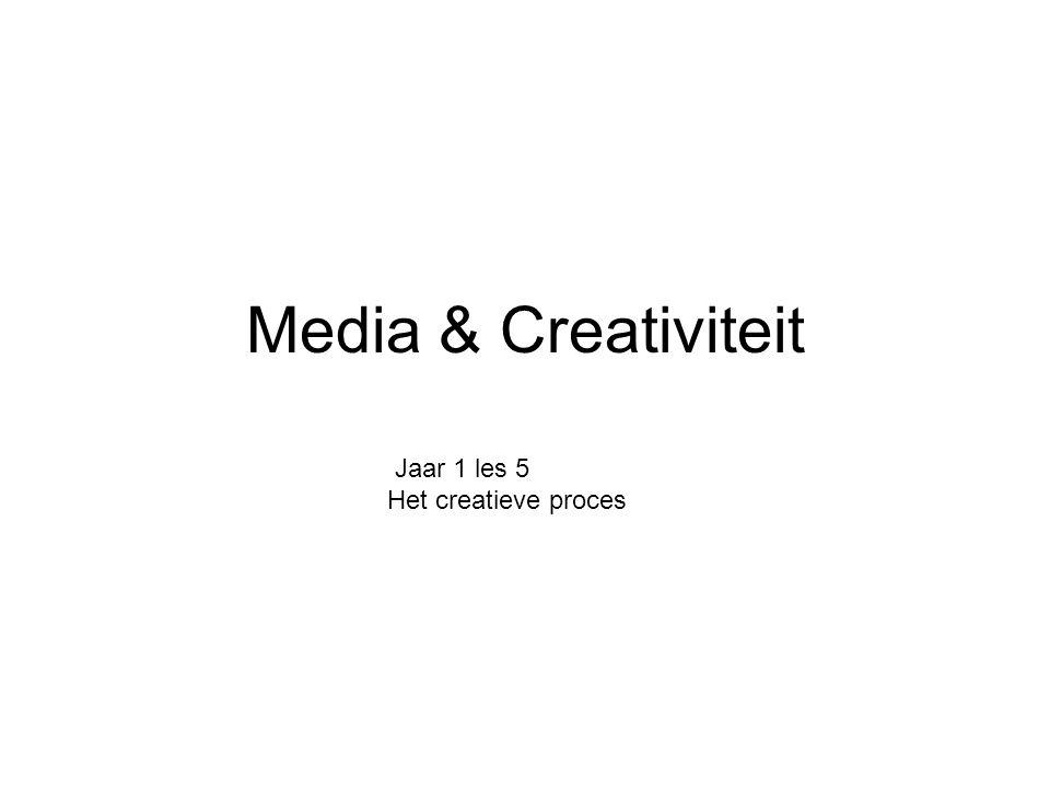 Media & Creativiteit Jaar 1 les 5 Het creatieve proces