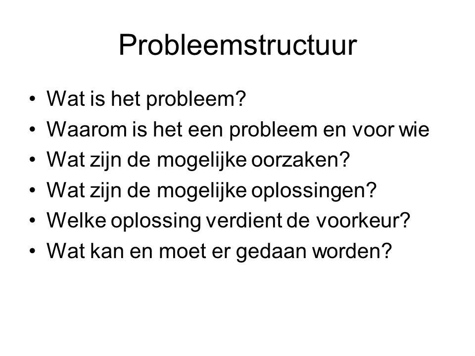 Probleemstructuur Wat is het probleem? Waarom is het een probleem en voor wie Wat zijn de mogelijke oorzaken? Wat zijn de mogelijke oplossingen? Welke