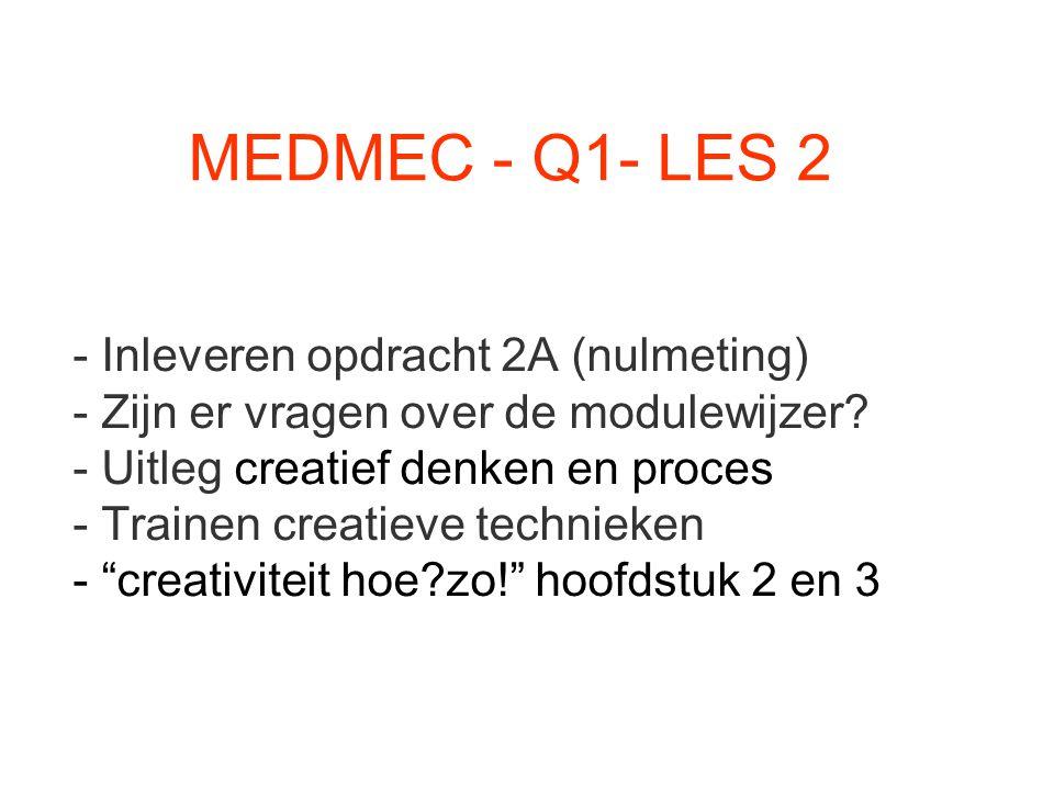 MEDMEC - Q1- LES 2 - Inleveren opdracht 2A (nulmeting) - Zijn er vragen over de modulewijzer? - Uitleg creatief denken en proces - Trainen creatieve