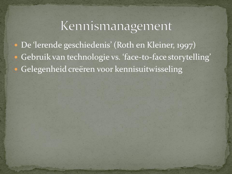 De 'lerende geschiedenis' (Roth en Kleiner, 1997) Gebruik van technologie vs. 'face-to-face storytelling' Gelegenheid creëren voor kennisuitwisseling