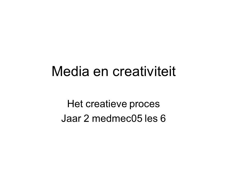 Media en creativiteit Het creatieve proces Jaar 2 medmec05 les 6