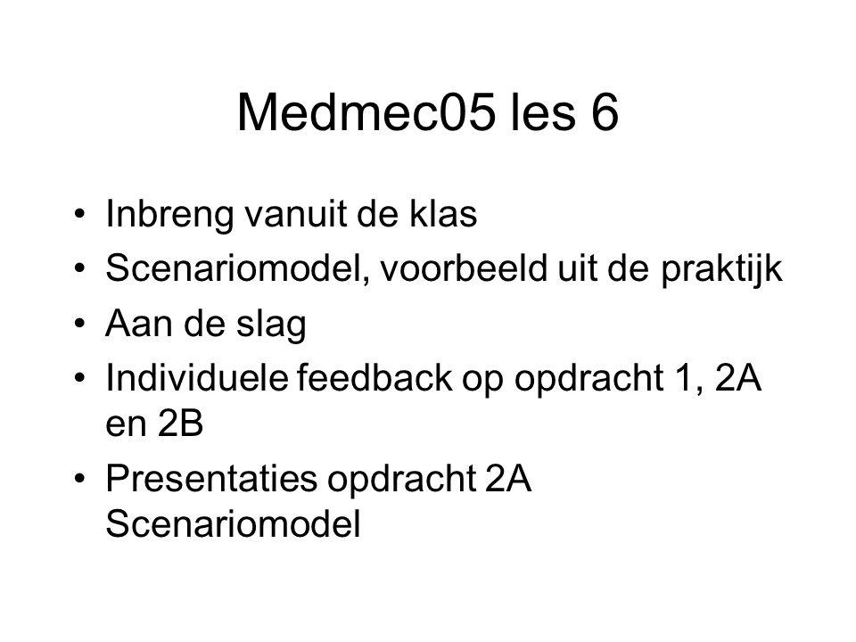 Medmec05 les 6 Inbreng vanuit de klas Scenariomodel, voorbeeld uit de praktijk Aan de slag Individuele feedback op opdracht 1, 2A en 2B Presentaties opdracht 2A Scenariomodel