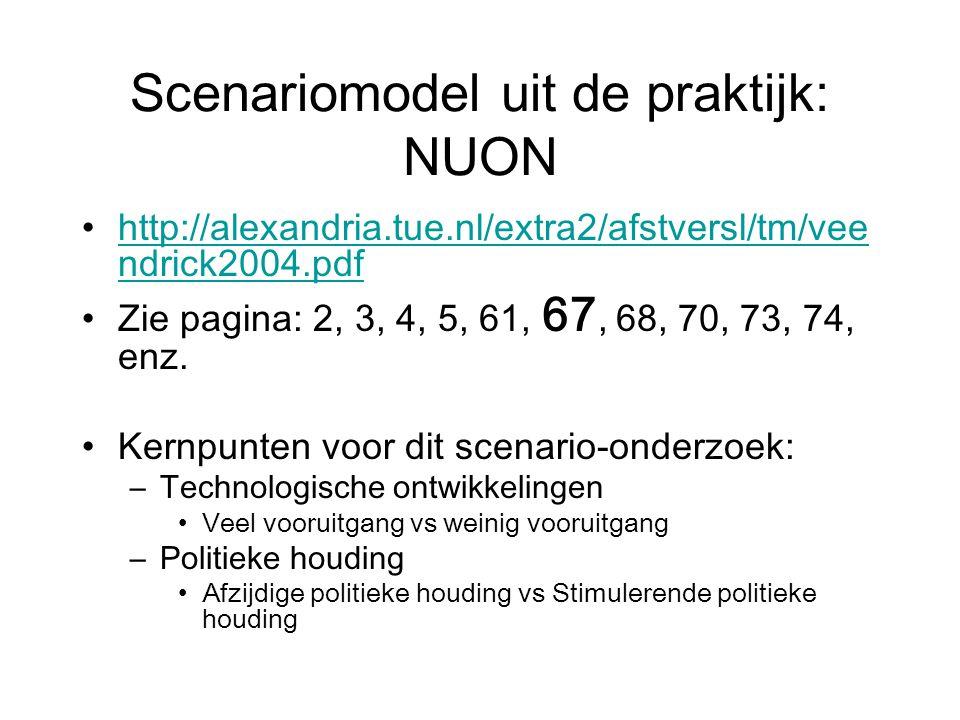 Scenariomodel uit de praktijk: NUON http://alexandria.tue.nl/extra2/afstversl/tm/vee ndrick2004.pdfhttp://alexandria.tue.nl/extra2/afstversl/tm/vee ndrick2004.pdf Zie pagina: 2, 3, 4, 5, 61, 67, 68, 70, 73, 74, enz.