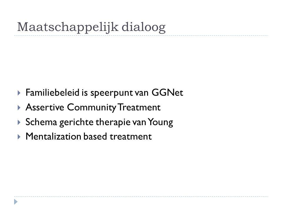 Maatschappelijk dialoog  Familiebeleid is speerpunt van GGNet  Assertive Community Treatment  Schema gerichte therapie van Young  Mentalization based treatment