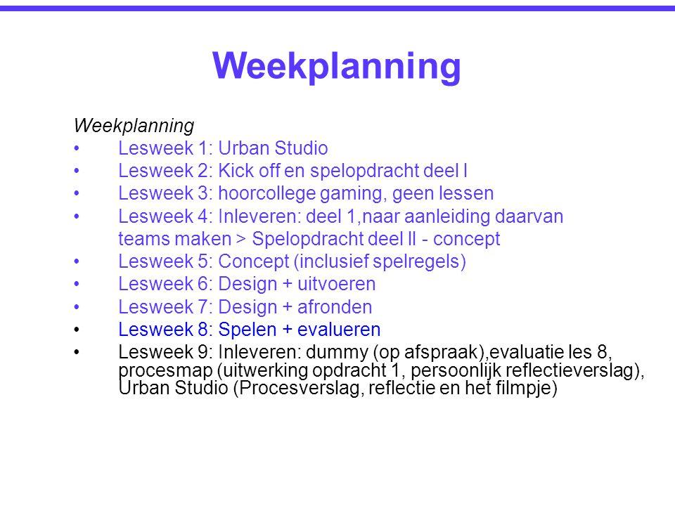 Weekplanning Lesweek 1: Urban Studio Lesweek 2: Kick off en spelopdracht deel l Lesweek 3: hoorcollege gaming, geen lessen Lesweek 4: Inleveren: deel