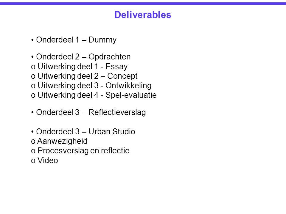 Deliverables Onderdeel 1 – Dummy Onderdeel 2 – Opdrachten o Uitwerking deel 1 - Essay o Uitwerking deel 2 – Concept o Uitwerking deel 3 - Ontwikkeling
