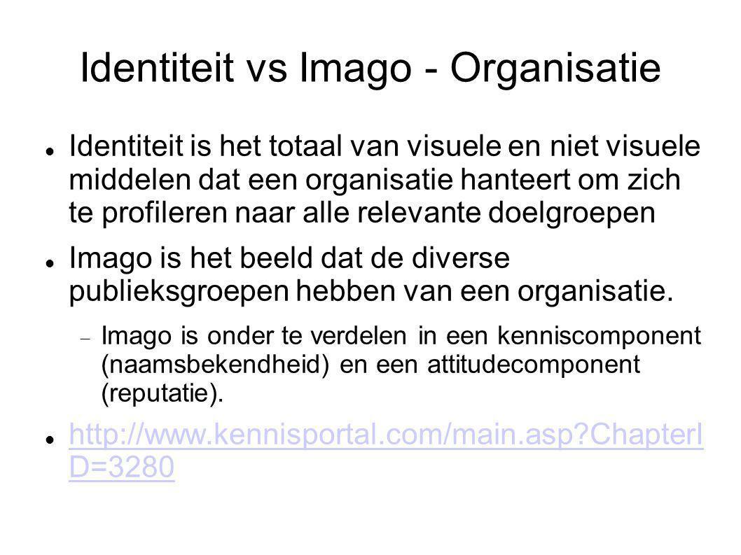 Identiteit vs Imago - Organisatie Identiteit is het totaal van visuele en niet visuele middelen dat een organisatie hanteert om zich te profileren naa