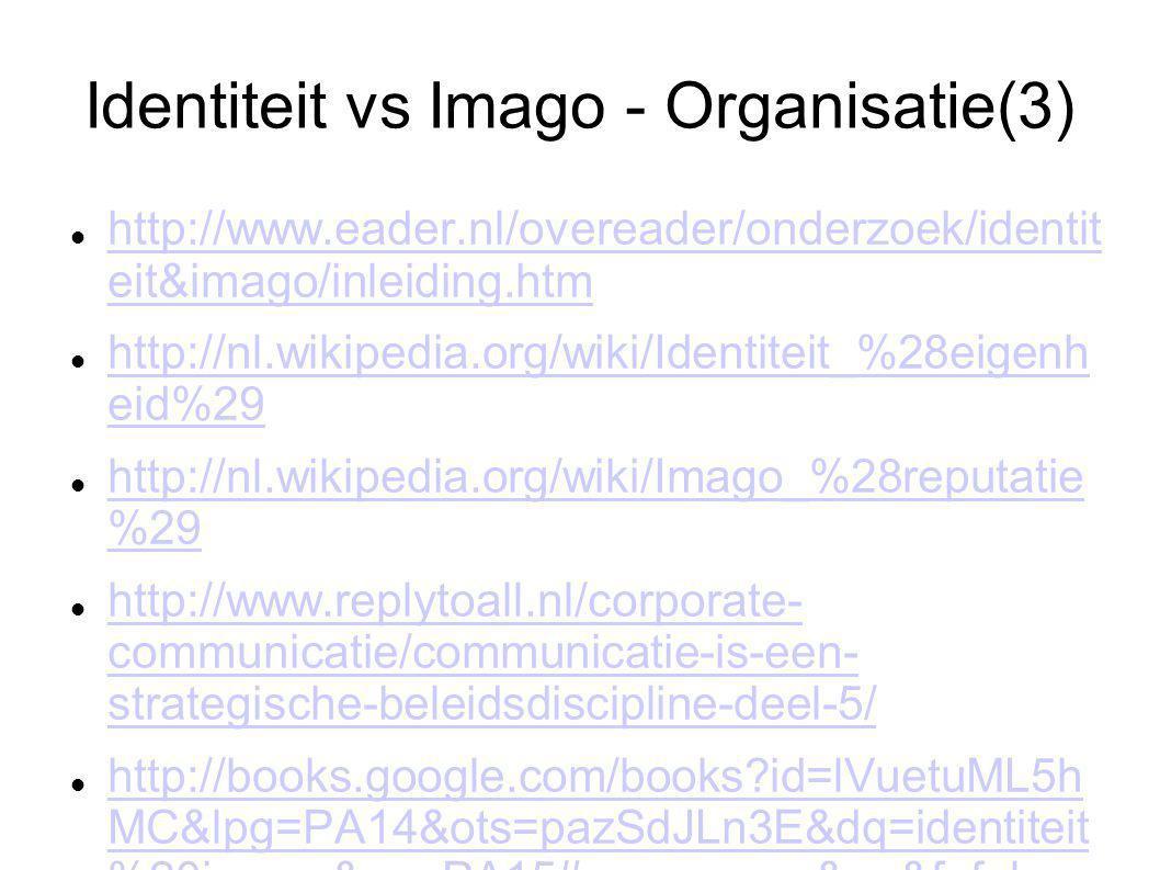 Identiteit vs Imago - Organisatie(3) http://www.eader.nl/overeader/onderzoek/identit eit&imago/inleiding.htm http://www.eader.nl/overeader/onderzoek/