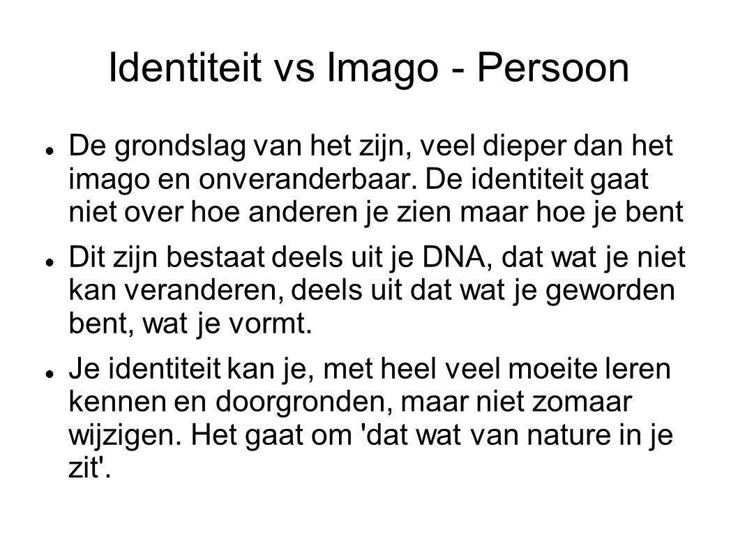 Identiteit vs Imago - Persoon De grondslag van het zijn, veel dieper dan het imago en onveranderbaar. De identiteit gaat niet over hoe anderen je zien