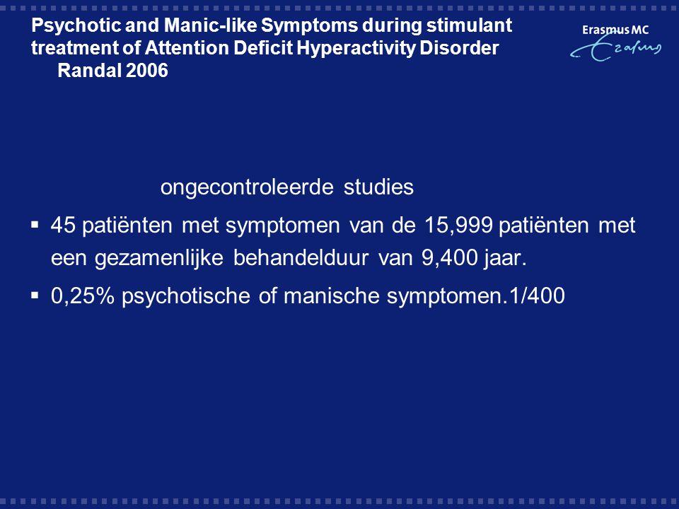 Psychotic and Manic-like Symptoms during stimulant treatment of Attention Deficit Hyperactivity Disorder Randal 2006 ongecontroleerde studies  45 patiënten met symptomen van de 15,999 patiënten met een gezamenlijke behandelduur van 9,400 jaar.