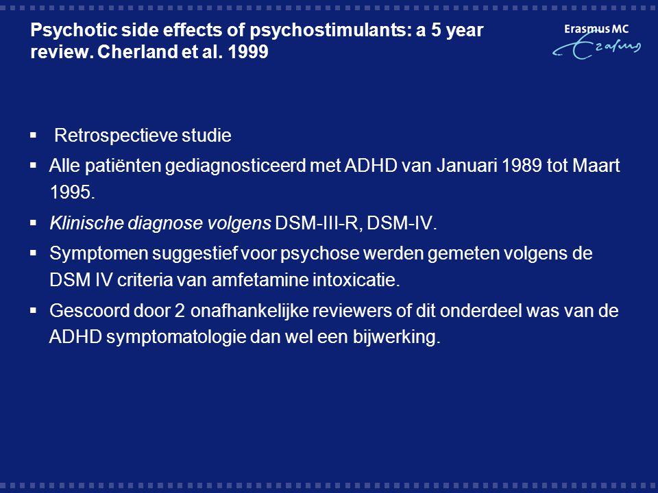 Resultaten  192 patiënten met ADHD  146 jongens en 46 meisjes  89 werden behandeld met stimulantia  Gemiddeld 1 jaar 9 maanden gevolgd  9 vertoonde psychotische symptomen  3 werden later met een andere psychiatrische stoornis gediagnosticeerd  6,7% ontwikkelde psychotische symptomen  Verdwenen binnen maximaal 6 dagen na staken middel