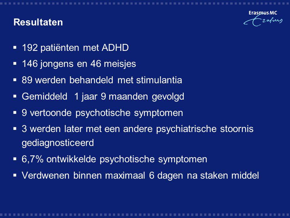 Resultaten  192 patiënten met ADHD  146 jongens en 46 meisjes  89 werden behandeld met stimulantia  Gemiddeld 1 jaar 9 maanden gevolgd  9 vertoon