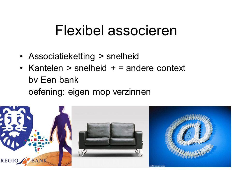 Flexibel associeren Associatieketting > snelheid Kantelen > snelheid + = andere context bv Een bank oefening: eigen mop verzinnen