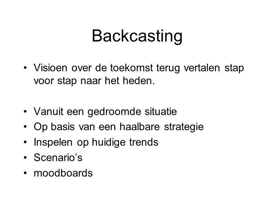 Backcasting Visioen over de toekomst terug vertalen stap voor stap naar het heden. Vanuit een gedroomde situatie Op basis van een haalbare strategie I