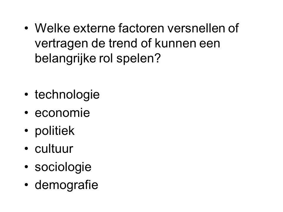 Welke externe factoren versnellen of vertragen de trend of kunnen een belangrijke rol spelen? technologie economie politiek cultuur sociologie demogra