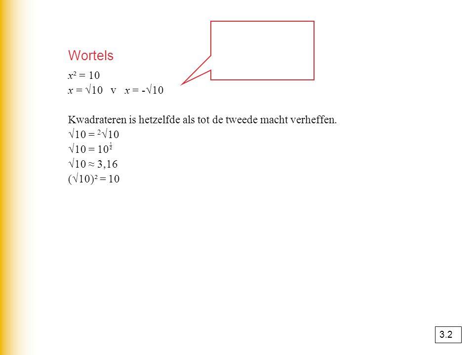 Wortels x² = 10 x = √10 v x = -√10 Kwadrateren is hetzelfde als tot de tweede macht verheffen. √10 = 2 √10 √10 = 10  √10 ≈ 3,16 (√10)² = 10 3.2