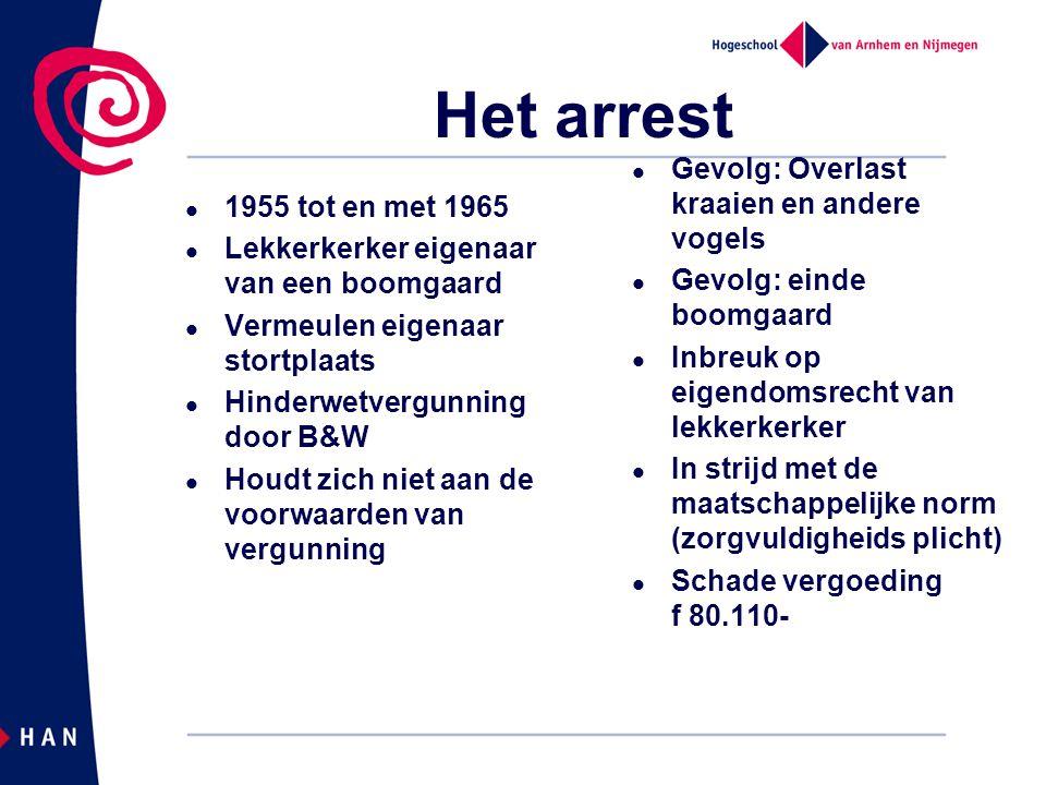 Het arrest 1955 tot en met 1965 Lekkerkerker eigenaar van een boomgaard Vermeulen eigenaar stortplaats Hinderwetvergunning door B&W Houdt zich niet aa