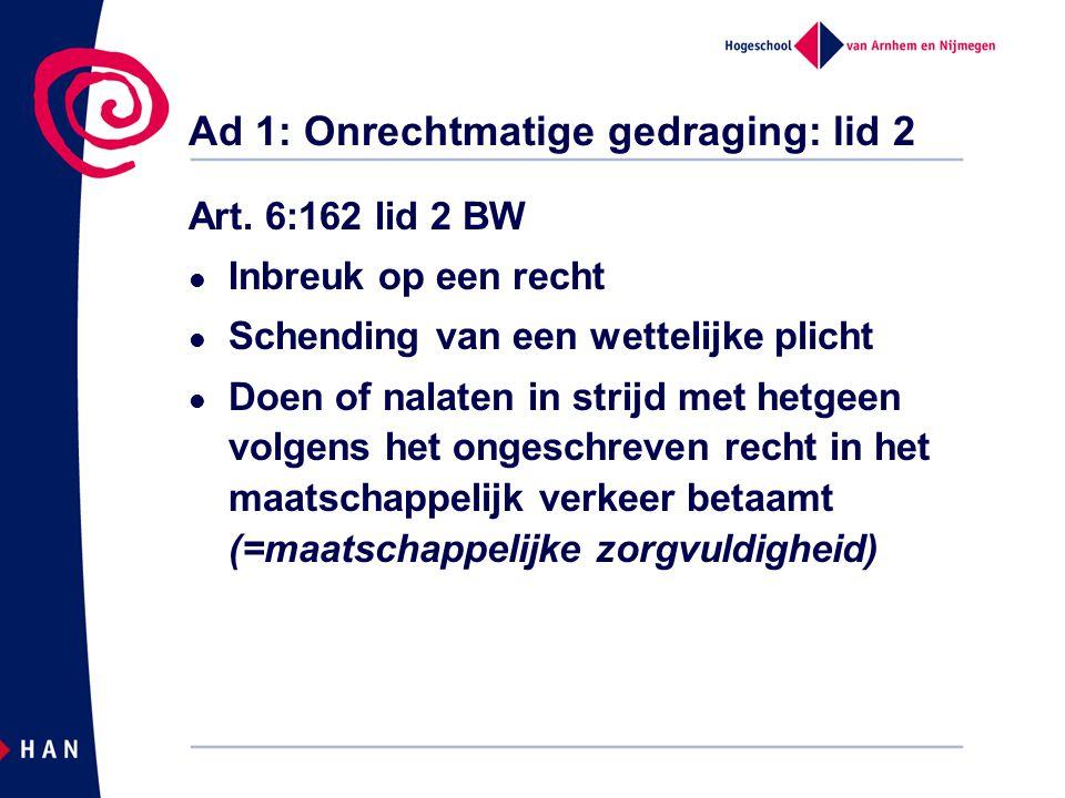 Ad 1: Onrechtmatige gedraging: lid 2 Art. 6:162 lid 2 BW Inbreuk op een recht Schending van een wettelijke plicht Doen of nalaten in strijd met hetgee