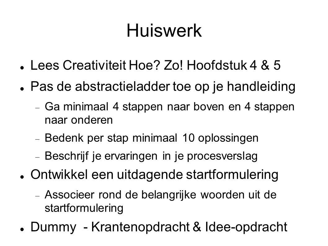 Huiswerk Lees Creativiteit Hoe? Zo! Hoofdstuk 4 & 5 Pas de abstractieladder toe op je handleiding  Ga minimaal 4 stappen naar boven en 4 stappen naar