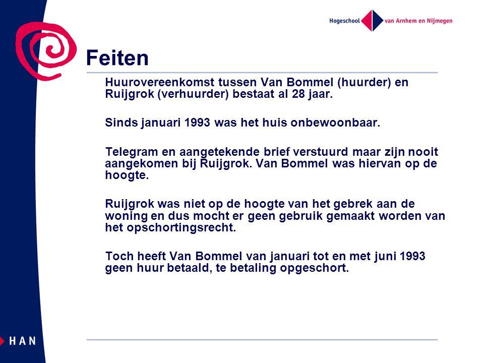 Feiten Huurovereenkomst tussen Van Bommel (huurder) en Ruijgrok (verhuurder) bestaat al 28 jaar.