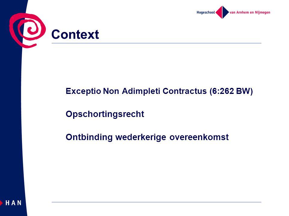 Context Exceptio Non Adimpleti Contractus (6:262 BW) Opschortingsrecht Ontbinding wederkerige overeenkomst