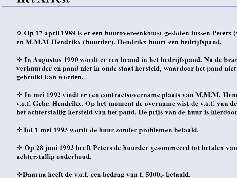 Het Arrest  Op 17 april 1989 is er een huurovereenkomst gesloten tussen Peters (verhuurder) en M.M.M Hendrikx (huurder). Hendrikx huurt een bedrijfsp