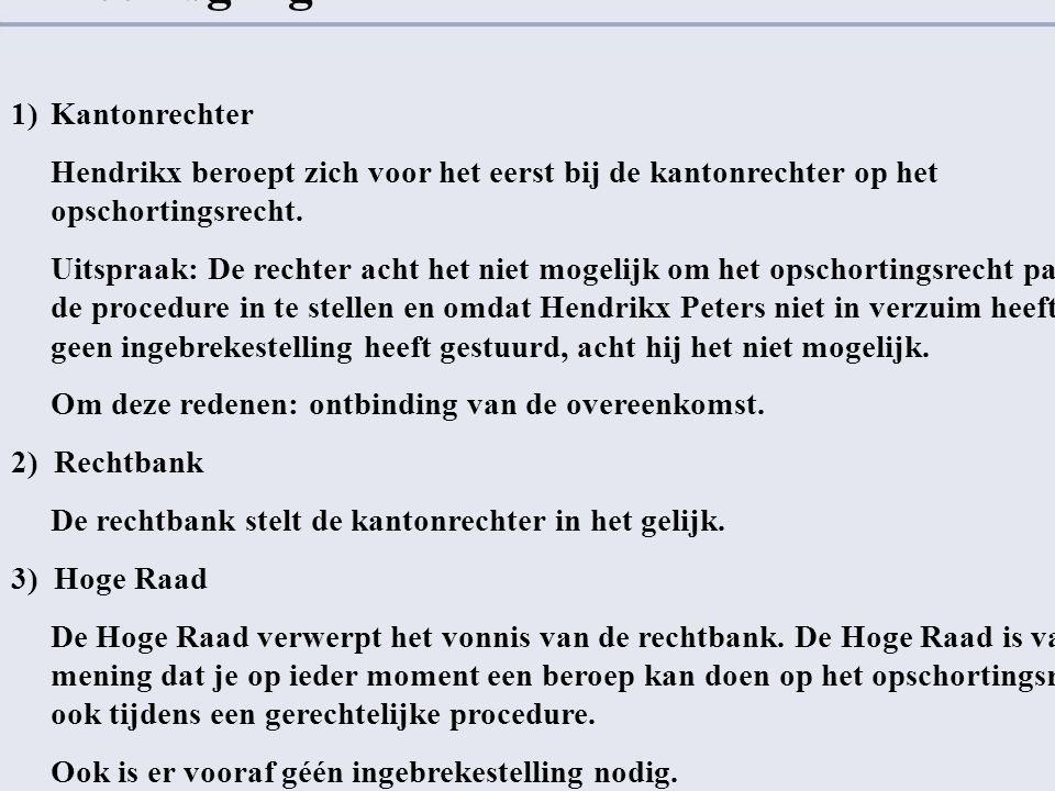 Rechtsgang 1)Kantonrechter Hendrikx beroept zich voor het eerst bij de kantonrechter op het opschortingsrecht. Uitspraak: De rechter acht het niet mog