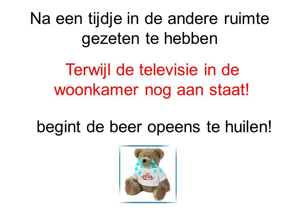 Na een tijdje in de andere ruimte gezeten te hebben Terwijl de televisie in de woonkamer nog aan staat! begint de beer opeens te huilen!