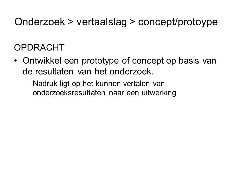 Onderzoek > vertaalslag > concept/protoype OPDRACHT Ontwikkel een prototype of concept op basis van de resultaten van het onderzoek.