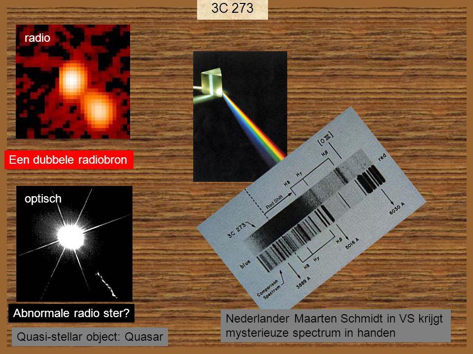 rood→ 3C 273 Roodverschuiving Z=0.158 Afstand = 2.5 miljard lichtjaar ~50 keer helderder dan helderste sterrenstelsels op deze afstand.